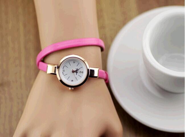 кожаный ремешок браслет Платье смотреть женщины дамы моды горный хрусталь аналоговые кварцевые наручные часы relogio feminino подарок/часы/reloj