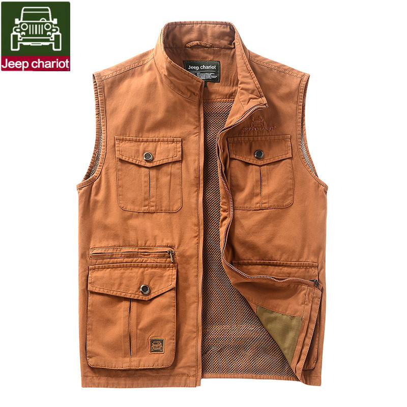 free shipping 2015 New high quality Multi-pocket men afs Jeep chariot Vest Men's Outdoor Waistcoat Fishing Coats & Jackets(China (Mainland))