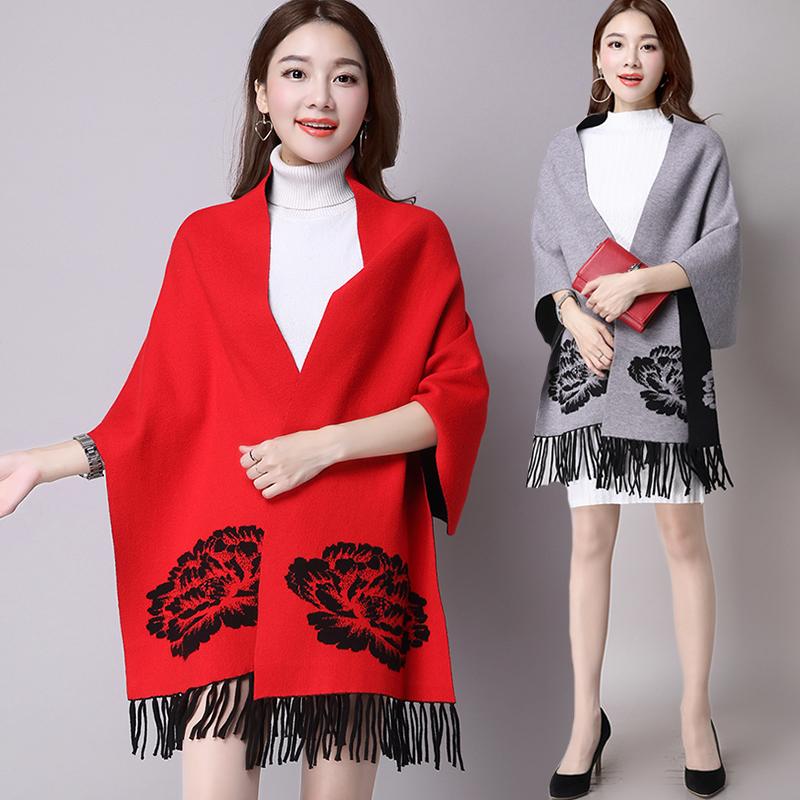 Women Cashmere Cardigan Knit Sweater Coat Winter Double Side Wear Full Tassel Casual Women's Oversized Sweaters Shawl Ponchos(China (Mainland))