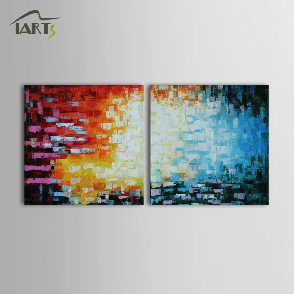 Iarts Handmade Geometric Figure Acrylic Painting Original Wall Art In Stock USA Fast Delivery Time 2 Sets Group ART Work(China (Mainland))