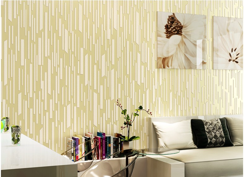 3D Wallpaper Vertical Stripes For Living room TV Background Sliver Yellow Coffee Green Pink Non-woven Wall paper Home Decoration(China (Mainland))