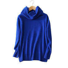 100% cashmere solid color losse sweaters turn-down turtleneck long sleeve knitting pullovers women's winter clothings