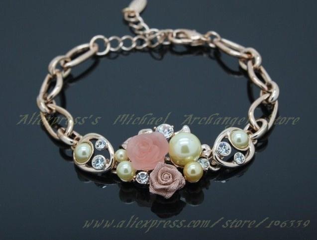 Nickel Free jewelry 18K Rose gold plated alloy & Resin wedding Flower bracelets fashion costume jewellery - Michael Archangel store