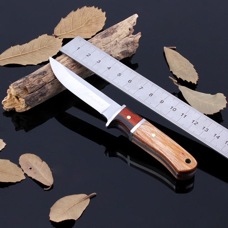 Buy Fixed Blade Tactical Hunting Knife Outdoor Survival Tool Wood Handle Stainless Steel for Camping Hiking Climbing Household cheap