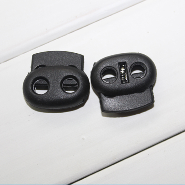 2014 rushed stopper paracord clamp new black plastic cord toggle nylon lock 2 holes 5mm 500pcs/lot garment accessories(China (Mainland))