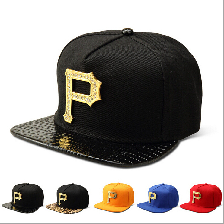 "2015 export to USA ""P"" letter logo hip hop hats snapback baseball caps for women men cotton fabric black red and 5 colors(China (Mainland))"