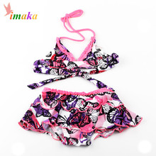 2016 Fashion Cute Girls Kids Swimwear Baby Swimsuit Biquini Infantil Flower Two Pieces Swim Suit Costume Cake Skirt Tankini SET
