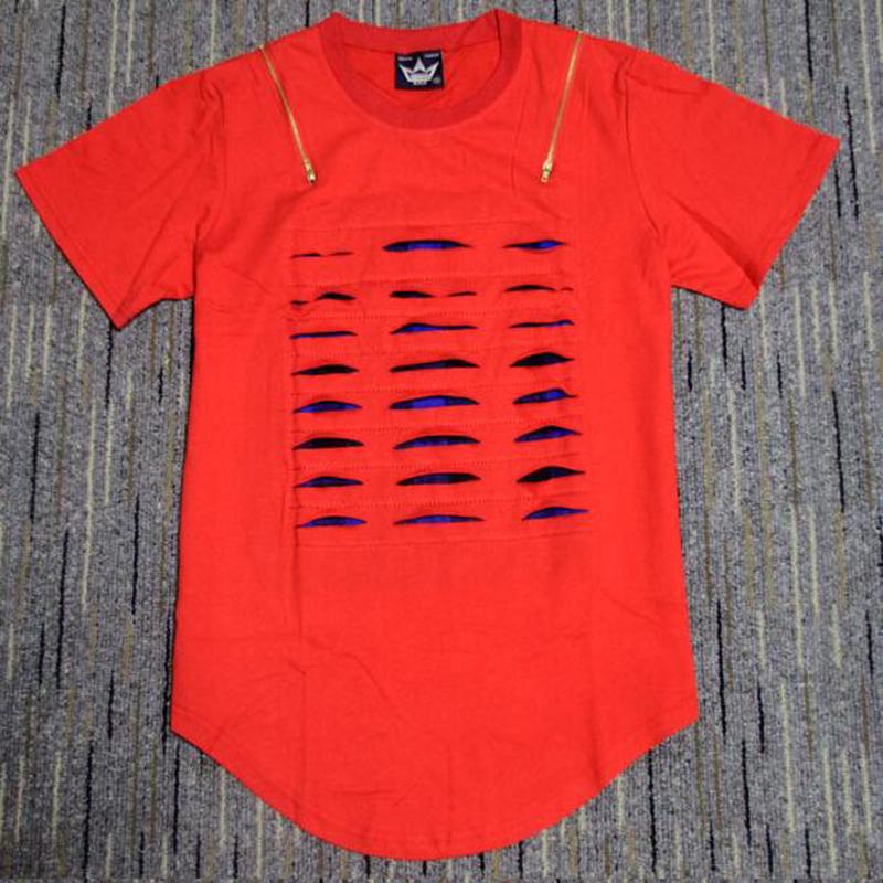 Red Plaid Men Plain Destroy Broken T Shirt Fashion Golden Zipper Hip Hop T Shirt Broken