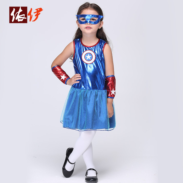 Cosplay Dance Dress Girls Cos Play Superman Suit Hallowmas Party Cos Costume Children's Day Make Up Party Dress B-2991(China (Mainland))