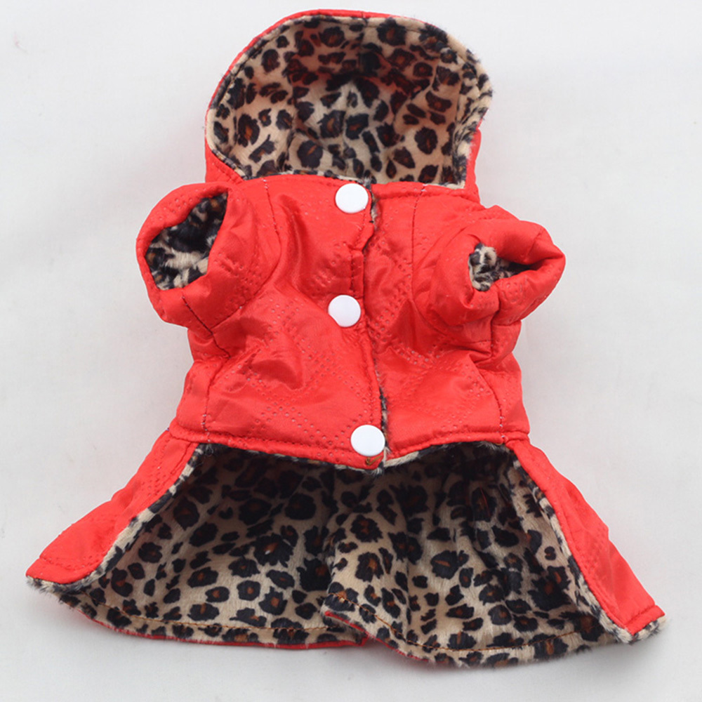 Cute Pet Dogs Leopard Dress Tops Puppy Cotton Hoodie Clothes XS-XL Costumes M13()