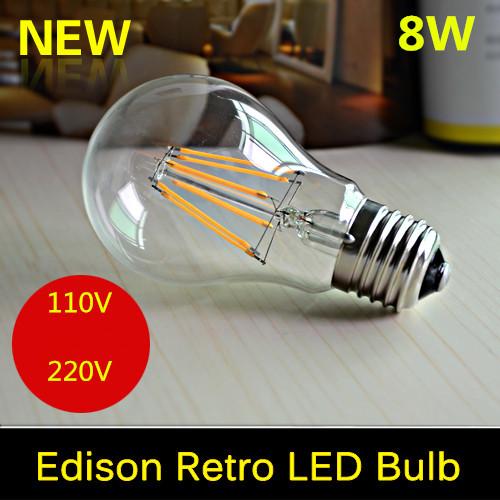 E27 E26 8W LED Filament Bulb Bombillas Led AC110V 220V COB LED Bulb Edison Christmas Lights Home Lighting Ultra Bright(China (Mainland))