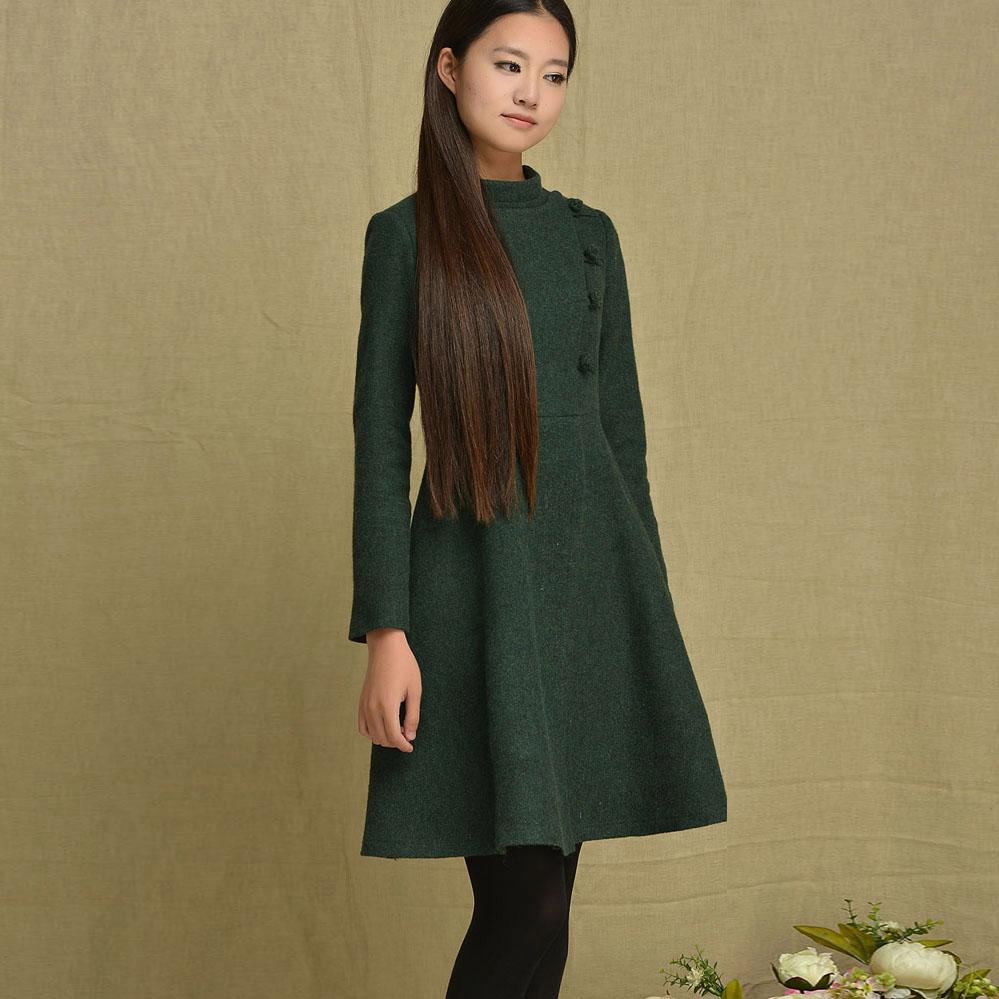 Woolen slim long-sleeve dress winter vintage button turtleneck wool original design winter solid colorОдежда и ак�е��уары<br><br><br>Aliexpress