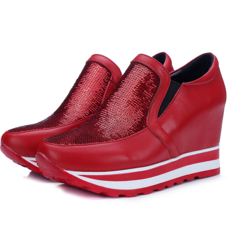 High quality Casual women genuine leather wedges pumps 2016 spring autumn thick sole sequin red/black fashion high heels shoes(China (Mainland))