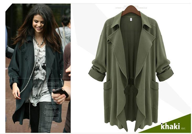 Images of Olive Green Trench Coat - Reikian