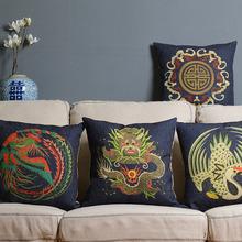 Blue retro modern Creative dragon pillow cushion