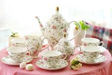 England Style Royal Bone China Ceramic 15 Peices Coffee Sets Fashion Cup And Saucer Coffee Pot