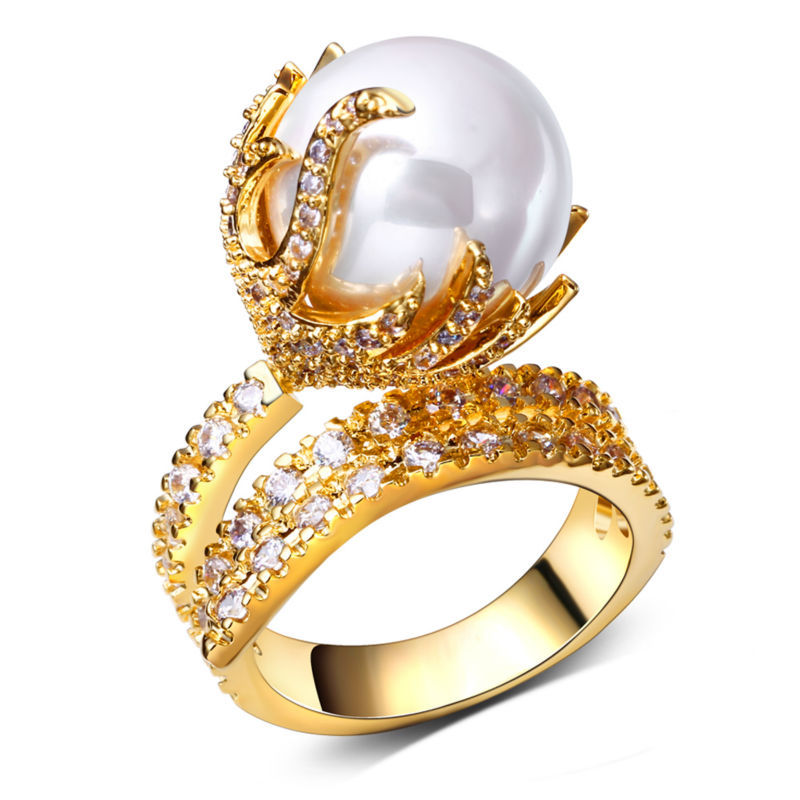 Pearl Flower Ring for party 18K Gold with cubic zircon crystal finger Ring high quality fashion jewelry Free shipment full size(China (Mainland))