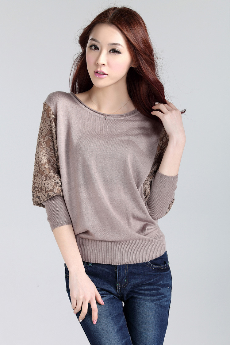 2014 Autumn Women Elegant Batwing Lace Hollow Sleeve Sweater pullover Shirt Short Design Crew Neck Loose Casual Sweate - Fashion Store1008 store