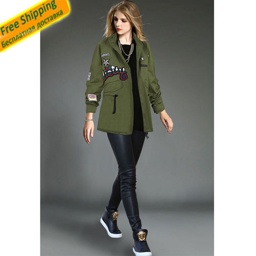 2015 Fall New Fashion Women Coats Zipper Army-Style Cool Seal Long Sleeve Turn-Down Collar Loose Trench Overcoats