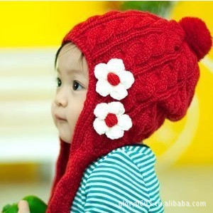 Autumn And Winter Toddler Baby Girl Flower Beret Kids Knit Hat Winter Knit Cap Earflap Handwoven Beanie New(China (Mainland))