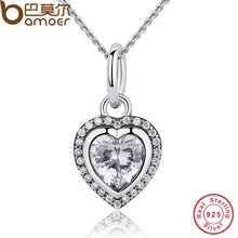 BAMOER 2016 New Arrival Luxury 925 Sterling Silver Love Heart Pendant Necklace for Women Wedding Fine Jewelry PAS260(China (Mainland))