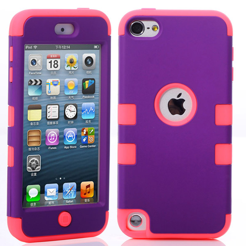 Hybrid 3 1 High Impact Case Cover Apple iPod Touch 5 5th Generation Purple Red - DONGSHIN International Co., LTD store