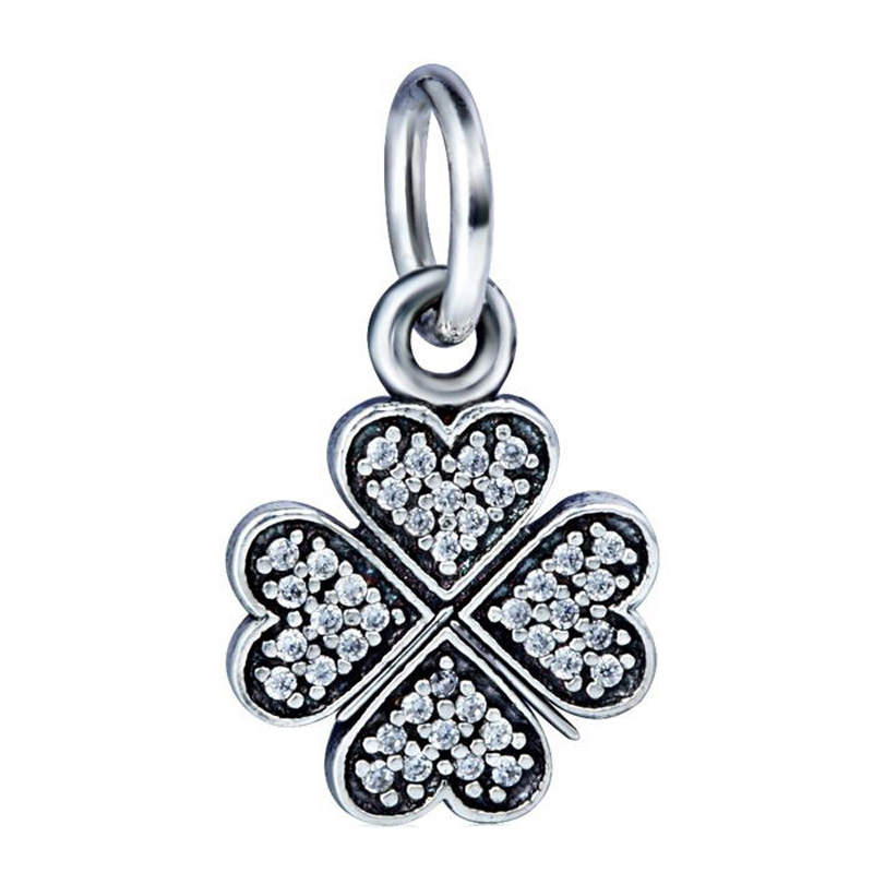 New! 925 Sterling Silver Charm Heart Clover With Cubic Zirconia European Charms Silver Bead For Snake Chain Bracelet DIY Jewelry<br><br>Aliexpress