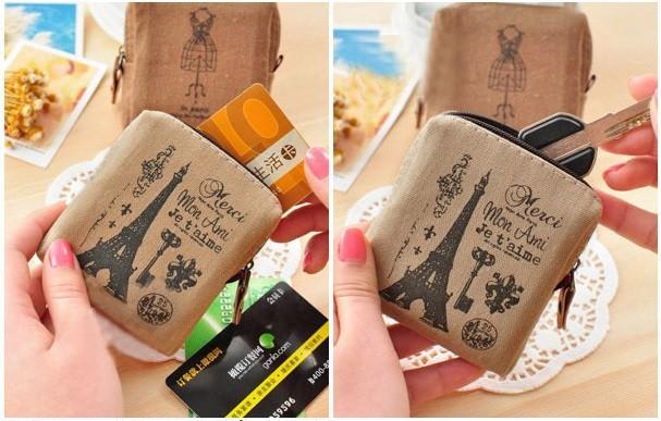 2015 новый корейский стиль мода кошелек старинные ретро-ностальгии женщин-мужская холст портмоне молнии девушка мини сумка монета Carteira Bolsas