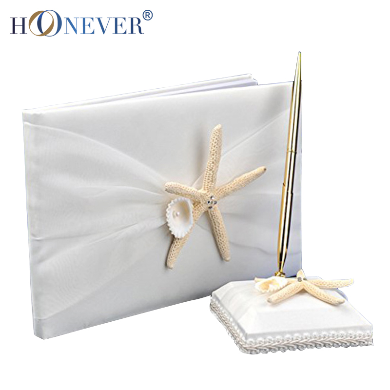 Starfish & Sea Shell Satin White Wedding Guest Book and Pen Set White(China (Mainland))