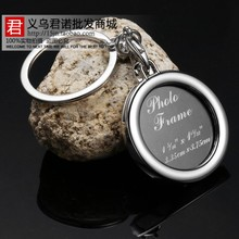 Circle photo frame key chain couple key chain small gift memorial laser logo put photos lettering(China (Mainland))