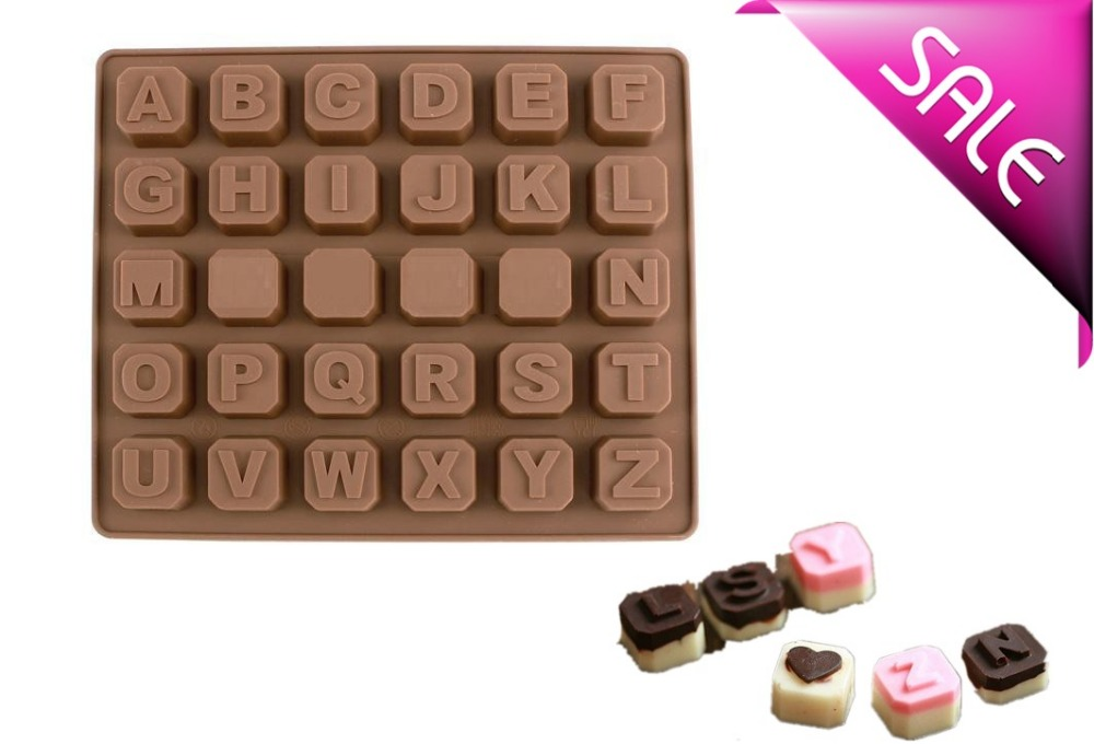 cake decorating tools 26 letters cake fondant silicone mold for chocolate kitchen accessories 30holes bakeware form soap candies(China (Mainland))