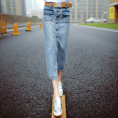 2015 Spring vintage women jeans side open long mid-calf length pocket denim skirts women's clothing free shipping Y0507-160D