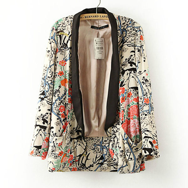 2015 New casual Style jacket Floral Printed color turn-down Collar women coat Long Sleeve Open Stitch Jackets