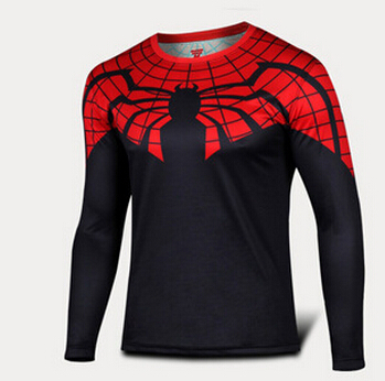 2015 hot sale red spider man cycling tights long-sleeved T-shirt fashion superhero speed dry Defend the world hero spider-man(China (Mainland))