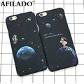 Fashion Airship Astronaut Stars Hard Matte Plastic Cover for Apple IPhone 6 6s 5 5s SE