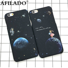 Fashion Airship Astronaut Stars Hard Matte Plastic Cover for Apple IPhone 6 6s 5 5s SE Phone Cases Ultra Thin Space Cosmic Shell