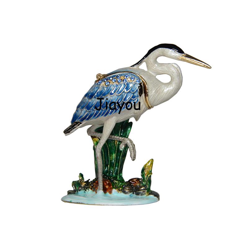 Vintage d coration h ron oiseau faberg cristal bo te de for Oiseau decoration jardin