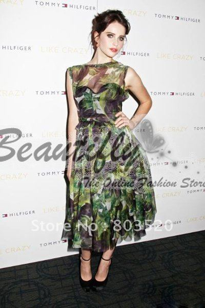 New! Fashion Printed Silk Evening Cocktail Homecoming Celebrity Dresses