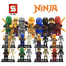 8pcs/set SY282 Ninjagoes Minifigures Thunder Fluorescent Skeletons Ninja Kai Jay Cole Zane Building Block Toys Action Figures - Castle store