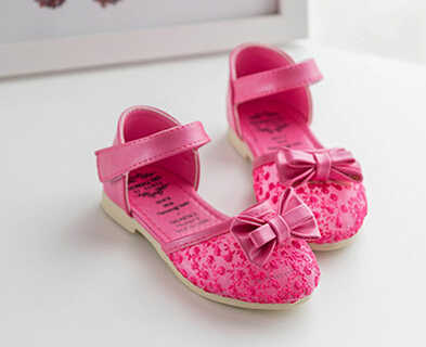 2016 Spring Summer Kids girls lace Hollow out sandals Children girls baby princess bowknot breathable shoes 5colors S1245(China (Mainland))