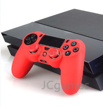 Protective Skin Silicone Case Cover for Sony PlayStation 4 PS4 Controller With TPU Joystick Caps – Red