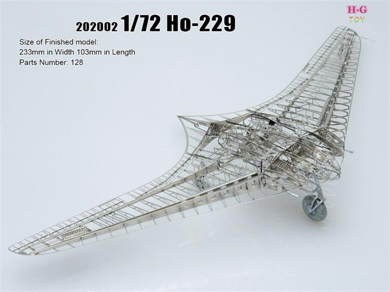 1/72 HO-229 Stealth fighter Building Kits 3D Scale Models DIY Metallic skeleton Nano Puzzle Need glue best quality diy model(China (Mainland))
