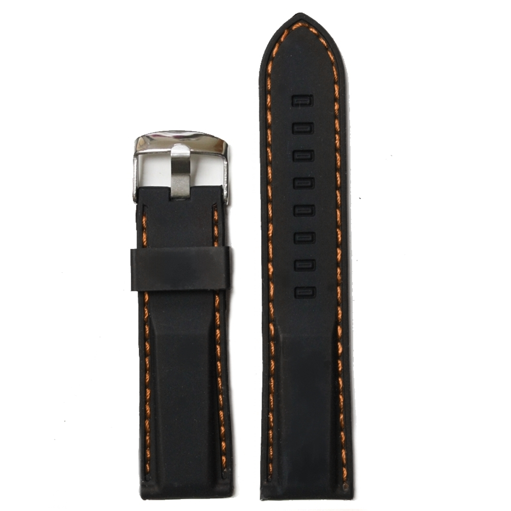 24mm Elegant Black Silicone Orange Stitches Watch Band Straps Belt WB1021B24JB(China (Mainland))