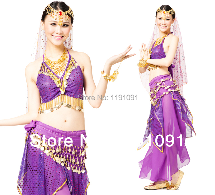 Indian dance belly dance costume set indian dance performance wear quality clothes,hot selling