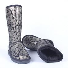 Leopardo Patrón de Impresión Rodilla Botas de Nieve Para Las Mujeres de La Astilla 2016 nuevos Zapatos de Mujer de Piel de Cuero Genuino Botas Para La Nieve Mujeres(China (Mainland))