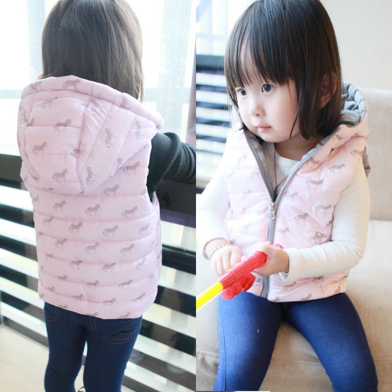 Autumn Winter Kids Waistcoat Cartoon Zebra Baby Girl Vest Coat Jacket Sleeveless Thicken Pink Purple Children WD150 - Kid Monopoly Shop store