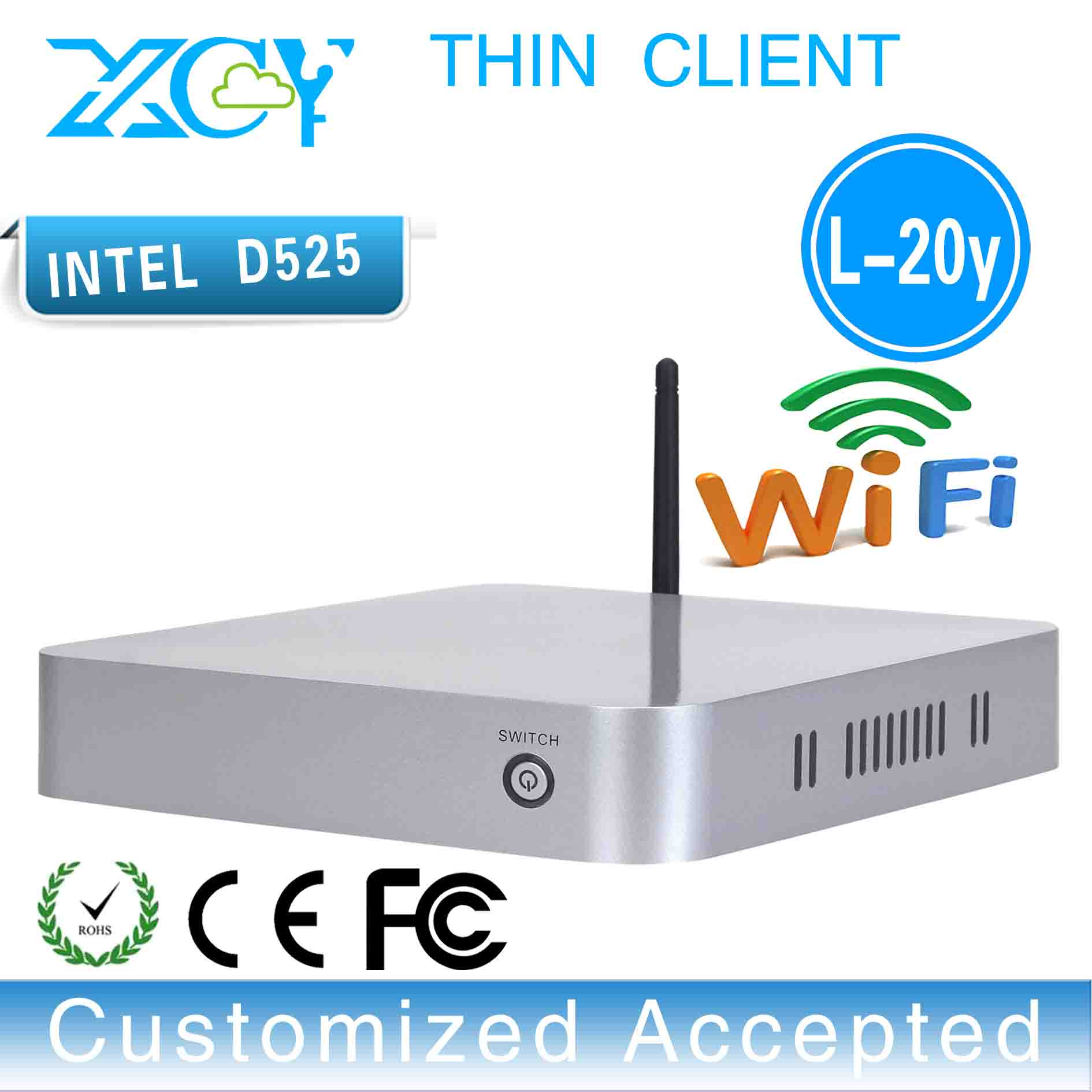 XCY Atom D525 Embedded Mini PC Intel CPU 12V Linux HDMI Thin Client Support Audio Videoconference Desktop PC(China (Mainland))