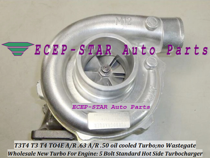 Free Ship Water cooled T3T4 T3 T4 TO4E Universal Turbo Turbocharger 5 Bolt compressor a/r .50 turbine AR .63 T3 flange 300-400HP(China (Mainland))