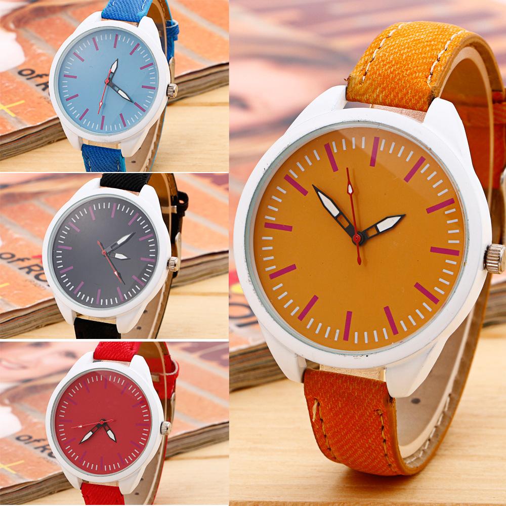 2015 New Fashion Watch Elegant Women Color Denim Fabric Simple Vintage Style Elegant Casual Watch Analog Regolio Clock Fine Gift(China (Mainland))