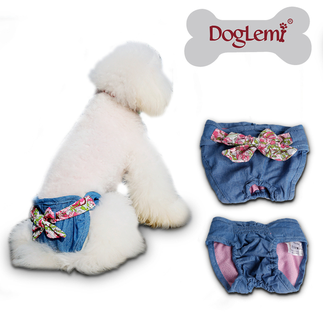 Small pet dog diapers female dog diapers cotton material washable dog  jeans pants diapers for dogs and cats
